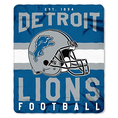 The Northwest Company NFL Detroit Lions Singular Fleece Throw, 50-inch by 60-inch, Blue