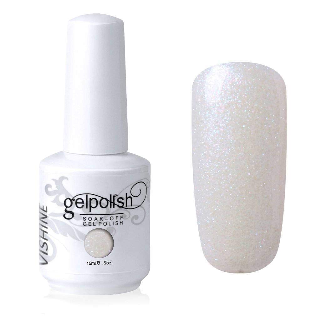 Vishine Gelpolish Gel Nail Polish Lacquer Shiny Color Soak Off UV LED Professional Manicure Pearl Ivory(1605)
