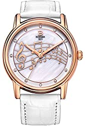 BINGER Women Mother Pearl Dress Watches Music Note Diamond Rose Gold Bezel Sapphire White Leather Strap