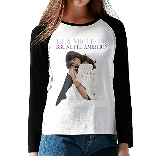 Lea Poster - Women's Brunette Ambition Lea Michele Book Wonderful Poster Long-Sleeves Raglan Tee Shirts
