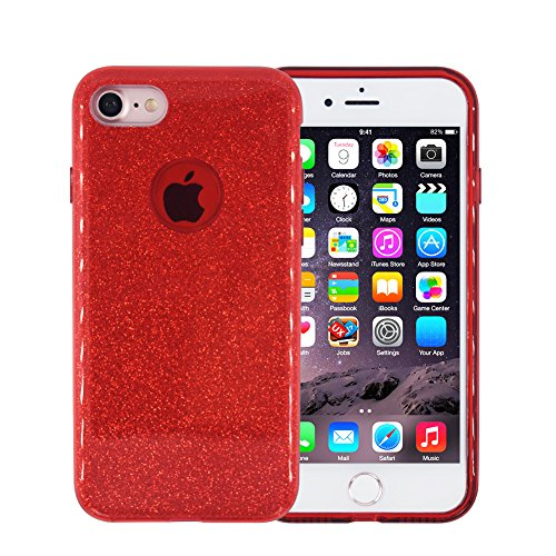 Glitter iPhone 6 Case, FACEVER Crystal Bling Design Soft Silicone + Hard Plastic Shining Full Side Protection Case Cover For Apple iPhone 6 6S 4.7 inch (Red)