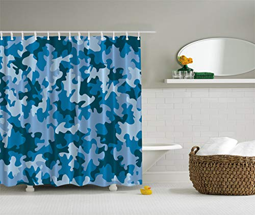 (Ambesonne Camo Shower Curtain, Colorful Composition with Abstract Shapes in Blue Shades Dark and Pale Motifs, Cloth Fabric Bathroom Decor Set with Hooks, 70