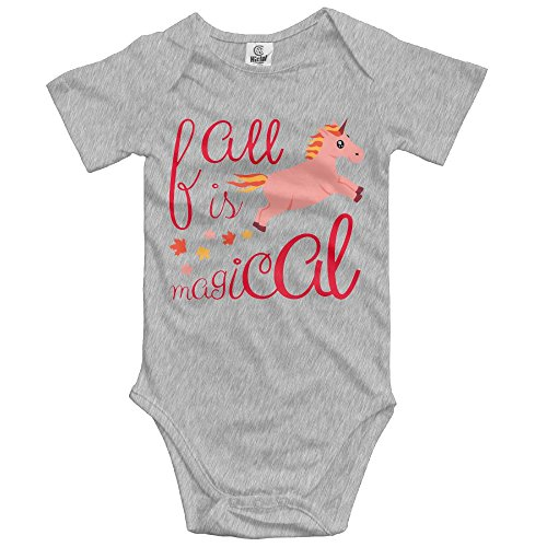 (woonmo Unisex Infant Bodysuits Fall is Magical Peach Unicorn Baby Babysuit Short Sleeve Jumpsuit Sunsuit Outfit Newborn)