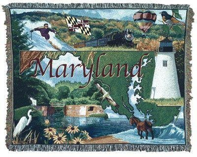 State of Maryland Tapestry Throw Blanket 130cm x 150cm B0043433EE