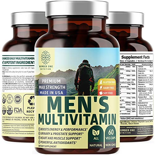 N1N Daily Multivitamin for Men, Premium Multimineral Supplement – Vitamins A C E D B1 B2 B3 B5 B6 B12. Magnesium, Zinc, Biotin, Spirulina, Copper Mineral, Antioxidants, All Natural, 60 Veg Caps