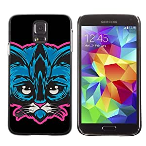Licase Hard Protective Case Skin Cover for Samsung Galaxy S5 - Cute Neon Cat Illustration