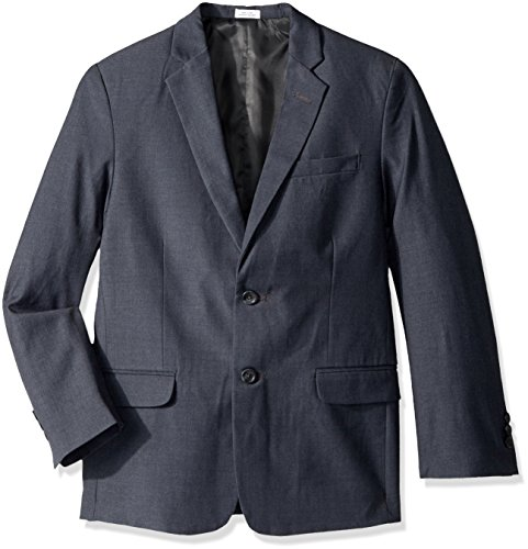 Calvin Klein Husky Boys' Fine Line Jacket, Dark Charcoal Heather, 16 (Husky Suit Jacket)