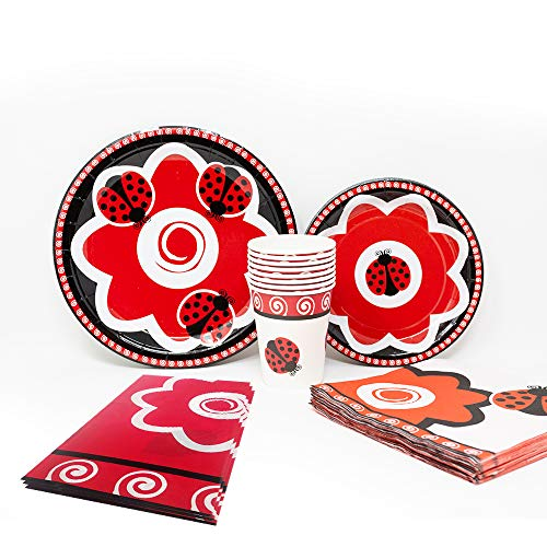 Blue Orchards Ladybug Deluxe Party Packs (70 Pieces for 16 Guests!), Ladybug Party Supplies