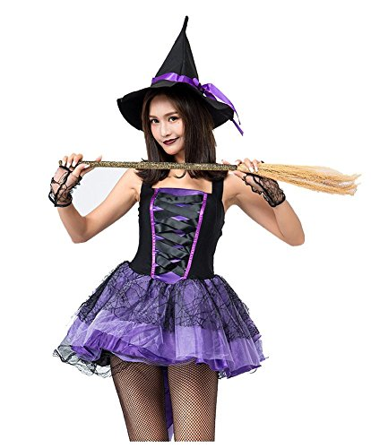 H&ZY Womens Halloween Purple Witch Costume with Tail Plus Size Magician Dress Hat (Satin Witch Costume)