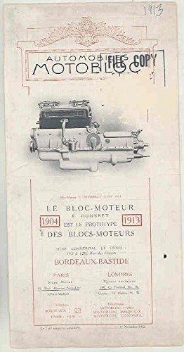 1913 Motobloc Automobile Specs Brochure Bordeaux - Le Paris Specs