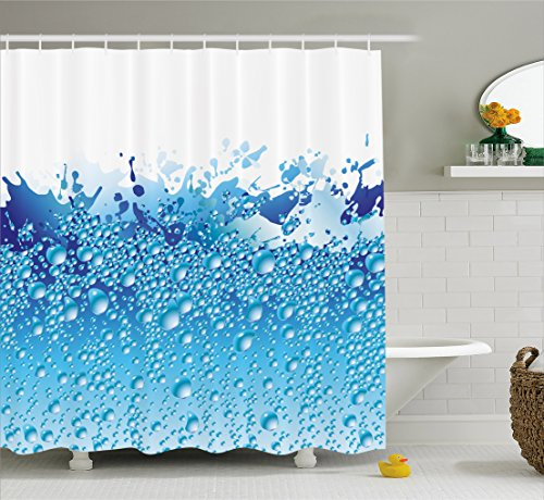 Ambesonne Modern Decor Shower Curtain Aquarium Like Water Image with Bubbles Splashes Drops Print Fabric Bathroom Decor Set with Hooks 70 Inches White Dark Blue and Sky Blue