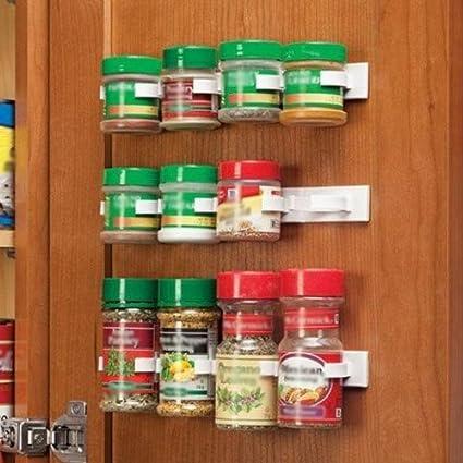 Miniinthebox Clip N Store Kitchen Bottle Spice Organizer Rack Cabinet Door Spice Clips 20 Clip Set
