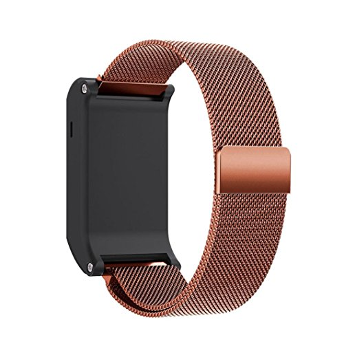 Price comparison product image Bands for Garmin Vivoactive HR, Promisen New Fashion Milanese Magnetic Loop Stainless Steel Replacement Wrist Strap Sports Bracelet Accessories (Coffee)
