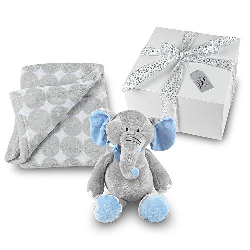 Baby Boy Blanket and Stuffed Elephant Gift Set - Grey Circle Coral Fleece Blanket with Plush Stuffed Blue and Gray Elephant GIFT (Wrapped Elephant)
