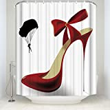 Creative Sex Woman Decor, Red High Heels in Black Shower Curtain, Mildew Resistant Polyester Fabric Bathroom Bath Curtains Set with Hooks 48x72inch