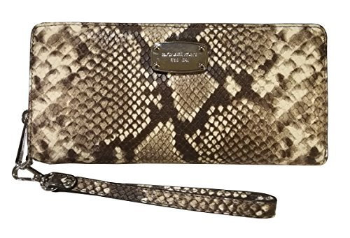 Michael Kors Womens Jet Set Item Travel Continental Embossed Leather Zip Around Wristlet Wallet Natural by Michael Kors