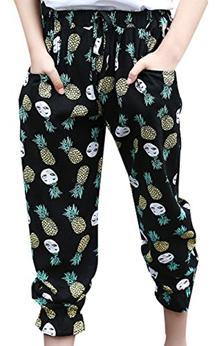 JiaYou Kid Child Girl Elastic Waist Printed Ankle Length Summer Anti-Mosquito Pants Trousers(Pattern Pineapple,height 55.1-59 inches) by JiaYou