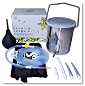 Medisential Enema Kit - Suitable for Coffee, Water and Gerson Therapy - Stainless Steel Bucket - Large for Home Use - Relaxing and Comfortable to Use - with Full Instructions, eBook & Enema Bulb