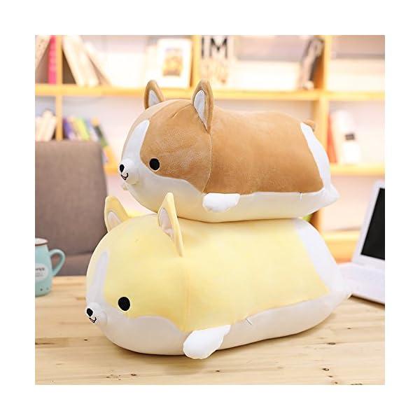 Levenkeness Corgi Dog Plush Pillow, Soft Cute Shiba Inu Akita Stuffed Animals Toy Gifts (Brown, 11.8 in) 3