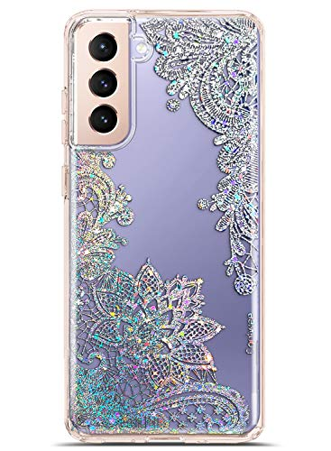 Coolwee Clear Glitter for Galaxy S21 Case Thin Flower Slim Cute Crystal Lace Bling Shiny Women Girls Floral Plastic Hard Back Soft TPU Bumper Protective Cover for Samsung Galaxy S21 Mandala Henna