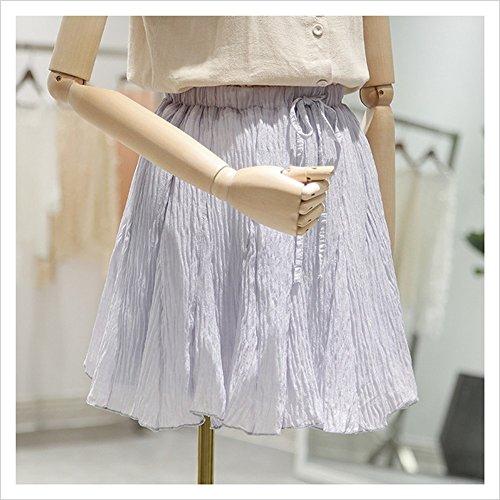 Jupe Haute plisse Grey Taille lastique Mode Yudanwin Sexy wgOnqxEtH