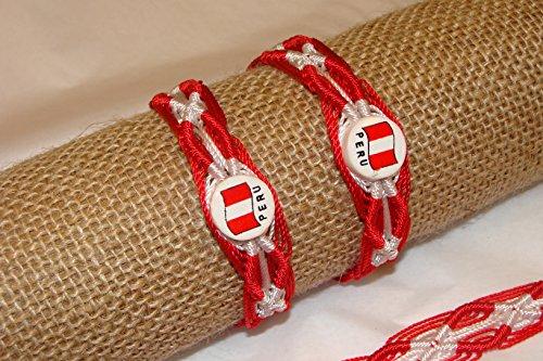 Artisan Handmade Friendship Bracelets 5 Lot Peru Flag Red White Colors Ceramic Fair Trade Set Price of ONE!