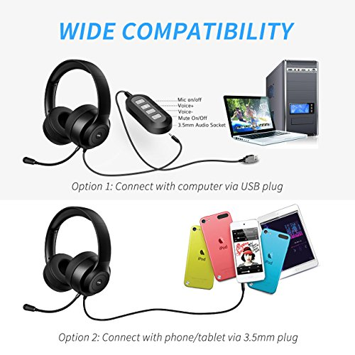 Vtin Headset with Microphone, USB Headset/3.5mm Computer Headphone Headset,Noise Cancelling and Hands-Free with Mic, Stereo On-Ear Wired Business Headset for Skype, Call Center, PC, Phone