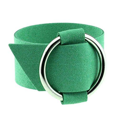 HOUBL; Charm Wide Black Velvet Leather Bracelets Multicolor Metal Silver Big Circle Wrap Bracelet Femme Wristband Jewelry,See Chart