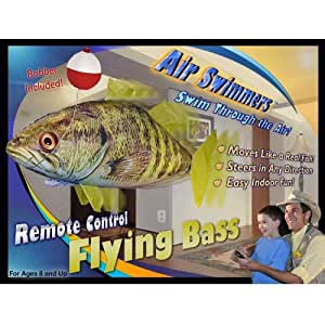Air swimmers remote control flying bass fish for Remote control air swimming fish