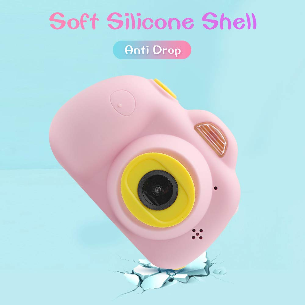 Tueker Kids Camera Toys Gifts for 4~8 Years Old Girls, Shockproof Kids Video Camera & Camcorder with Soft Silicone Shell for Outdoor Play, Pink by Tueker (Image #4)