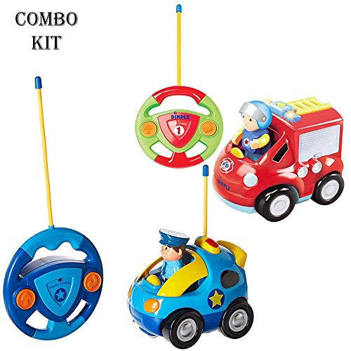 Pack of 2 Cartoon Remote Control (R/C) Police Car & Fire Truck Radio Control Toys for Kids and Toddlers with Sound and Lights by Dimple 49 & 27 Frequency, Best RC Toy and Gift for Kids by Dimple