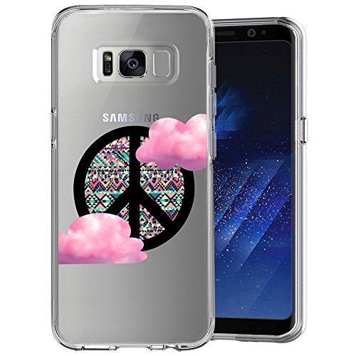 Galaxy Peace Sign Slim Clear Phone Case for Samsung Galaxy S8 Lightweight Soft TPU Customized Design Skin Cover Shock-proof Anti-Scratch Flexible Durable Printed Protective Case [Anti-Slippery]