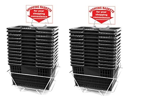Black Shopping Baskets (Set of 24 with 2 stands and Sign) Durable BlackPlastic with Metal Handles by Only Garment Racks