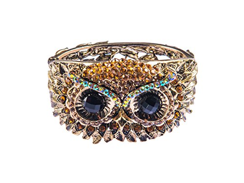 Alilang Womens Antique Gold Tone Owl Bird Face Crystal Rhinestone Costume Cuff Bangle Bracelet