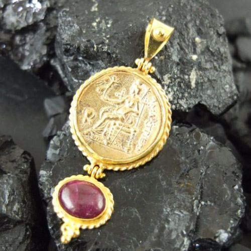 Ancient Design Handmade Large Coin & Natural Ruby Pendant 22K Gold over 925K Sterling Silver ()