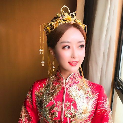 JC's Beauty Set of Traditonal Hairclip Chinese Coronet Tassels Headdress Kanzashi Wedding Dragon Phoenix Bride Headwear Chinese Style Accessories Wedding Hair Clip Cold Color]()