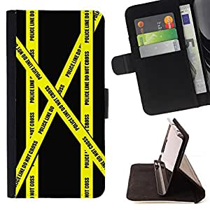 DEVIL CASE - FOR HTC One M7 - Don'T Go Police Tape Crime Scene Yellow - Style PU Leather Case Wallet Flip Stand Flap Closure Cover
