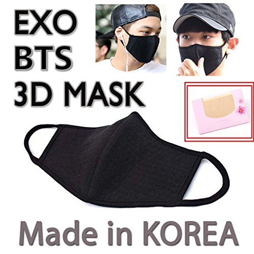 Made in Korea Unisex Kpop Mask 3D Black Cotton Face Mouth Ma