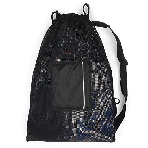 Fitdom Water Sports Mesh Draw String Bag (Jet Black)