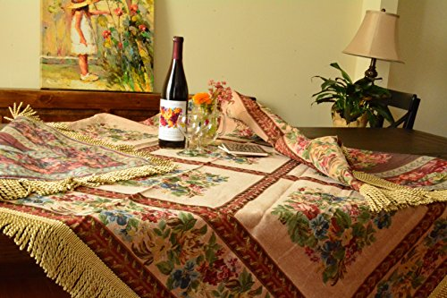 (Tache Square Floral Woven Tablecloth - Yuletide Blooms - Red, Beige Patchwork Tapestry Table Linen - 5598-59 X 59 Inch)