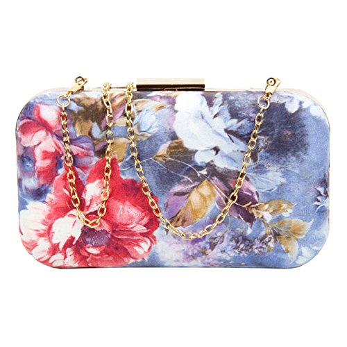 Bag Ladies Blue Print Floral Party Leather Hardcase Faux Multicolour Purse Clutch B84wxqpBS