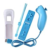 Remote Game Control, NewBull Built-in Motion Plus Remote and Nunchuck Controller Set for Wii Wii U (Light Blue)