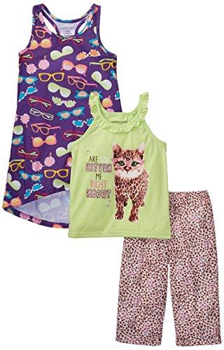 Komar Kids Big Girls' Are You Kitten Me 3 Piece Pajama Set, Purple, Medium