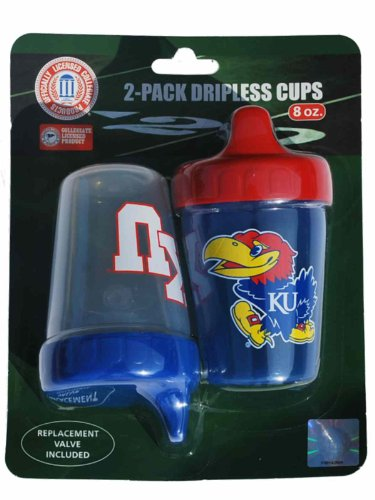 (Haddad Kansas Jayhawks Accessories Red Blue Dripless Sippy Cups 2-Pack 8 oz)