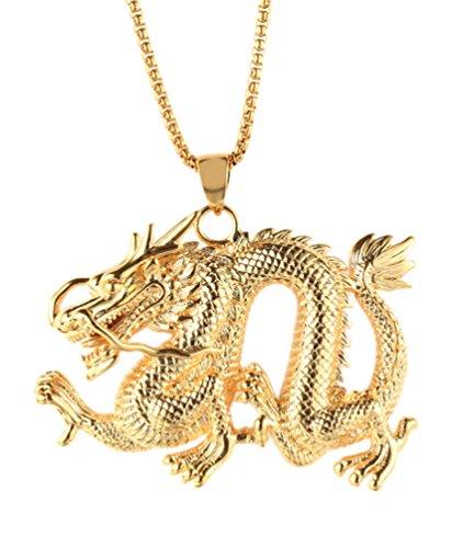 Jenhianeck Hip Hop Titanium Steel Animal Tag Pendant Dragon Necklace,22Inch Chain(Gold)