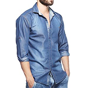 Lafantar Men's Solid Slim Fit Casual Shirt (dms43_Blue_Small)