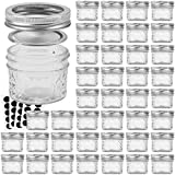 Glass Jars With Lids, VERONES 4 OZ Quilted Crystal Jelly Jars with Lids and Bands, Ideal for Preserving Jams, Mustard & Flavored Vinegar Also for Home Decorating, 40 PACK, 40 Chalkboard Labels Include