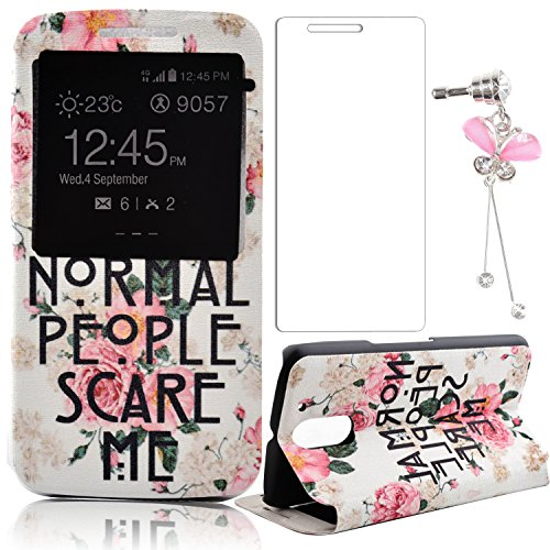 Motorola Moto G4/G4 Plus Case,Sunroyal Stand Flip Smart [Sliding to Answer] PU Leather Cover PC Hard Back Slim Pink Peony Pattern with View Window+Screen Protector+Butterfly Anti-dust Plug (Pedestal Peony)