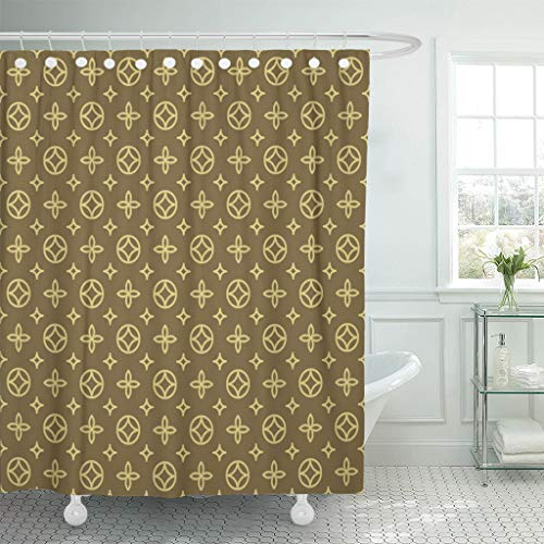 Emvency Shower Curtains 78 X 72 Inches Louis Luxury Geometric Floral Pattern In Vintage Vuitton Pram Blossom Canvas Waterproof Polyester Fabric Bath