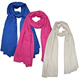 Same Pattern Different Quality 2018 New Developed Material 3 Packs Super Soft Lightweight Plain Oblong Scarf For Women Wear As Beach Cover Up Wrap (L-06)